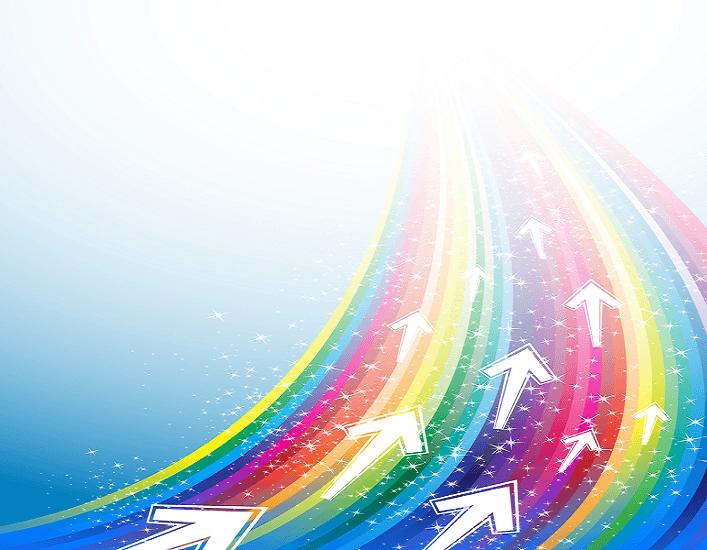 נתיב בצבעי הקשת עם חיצים_הנתיב הנכון לנו מואר בשמחה