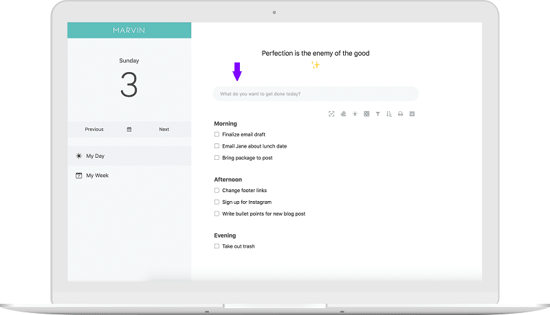 תצוגה של דף יומי עם חלונית לכתיבת משימות במרווין, אפליקצית משימות