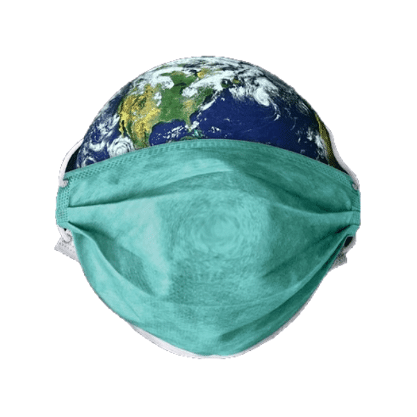 כדור הארץ עם מסיכה להגנה מקורונה