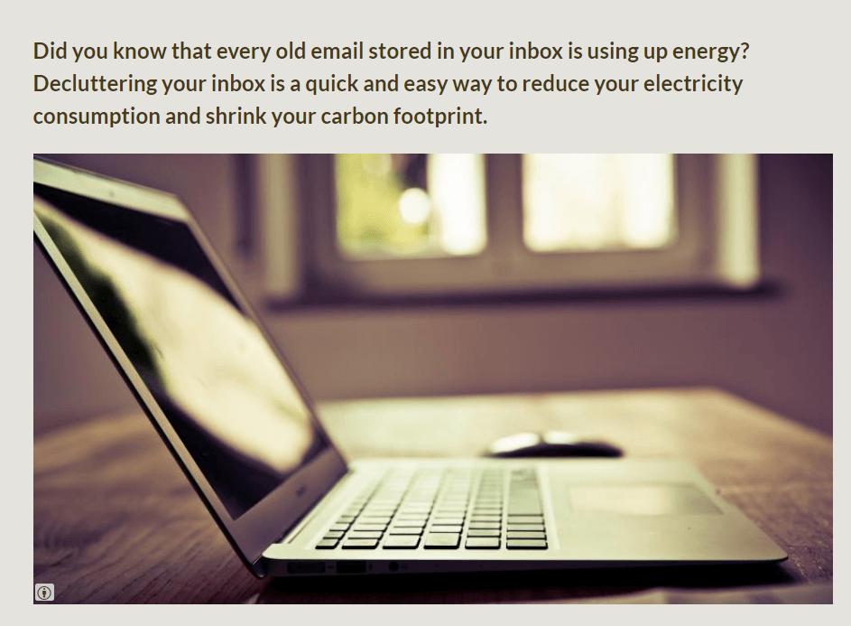 צילום מסך מכתבה באנגלית שמסבירה שמיילים צורכים חשמל וניקוי התיבה היא אחת הדרכים לעזור לאיכות הסביבה