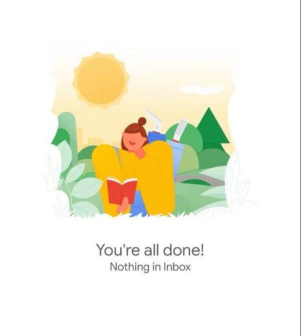 תמונת מסך של תיבת מייל נקיה בג'ימייל מהנייד - כתוב: You're all done!