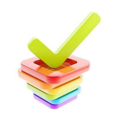 סימן של וי על קופסאות צ'קבוקס בצבעי הקשת